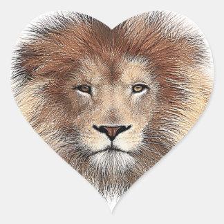 Nueva impresión del león pegatina en forma de corazón