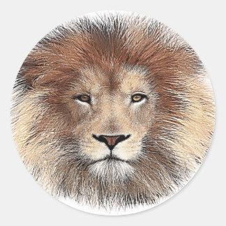 Nueva impresión del león pegatina redonda