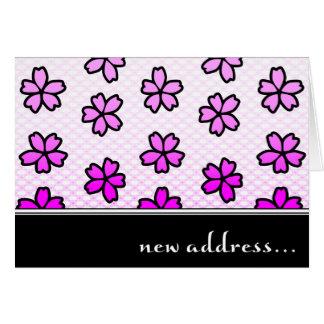 nueva invitación de la dirección: flores retras tarjeta pequeña
