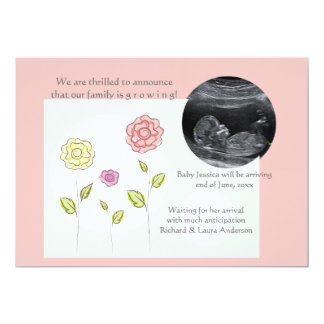 Nueva invitación del embarazo de la foto del rosa
