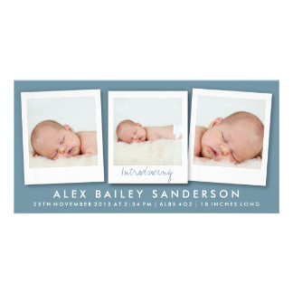 Nueva invitación gris azul marino del bebé con 3 tarjetas personales con fotos