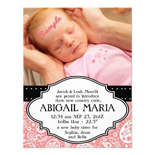 Nueva invitación rosada del nacimiento de la niña