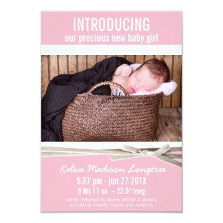 Nueva invitación rosada dulce del nacimiento de la invitación 8,9 x 12,7 cm