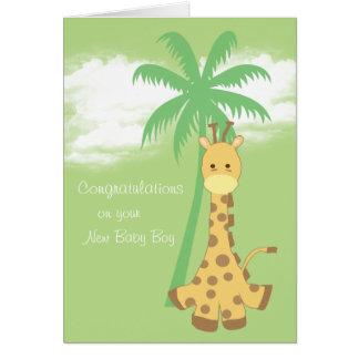 Nueva jirafa del azul de la enhorabuena del bebé tarjeta de felicitación