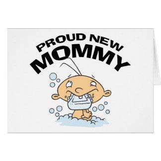 Nueva mamá orgullosa divertida tarjetón