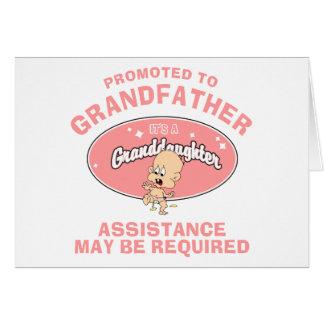 Nueva nieta promovida al abuelo tarjetón