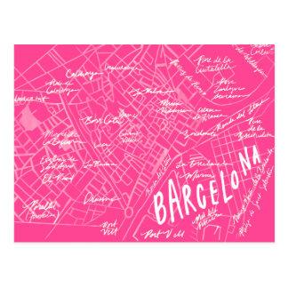 Nueva postal de Barcelona España del viaje rosado