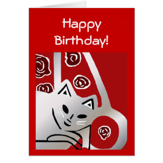 Nueva tarjeta de cumpleaños del arte del gato del