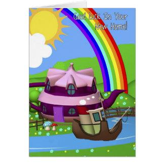 Nueva tarjeta de felicitación casera de la casa de