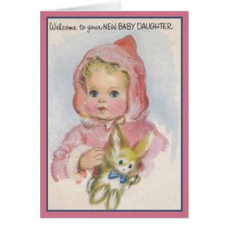 Nueva tarjeta de felicitación de la hija del bebé