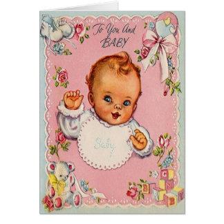 Nueva tarjeta de felicitación retra del bebé