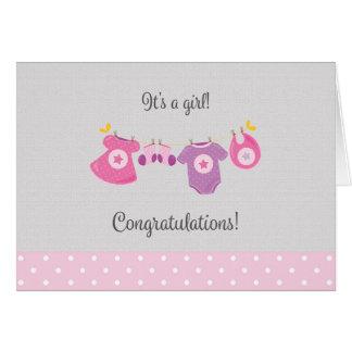 Nueva tarjeta de la enhorabuena de la niña