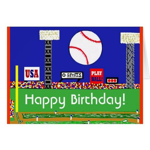 Nueva tarjeta del feliz cumpleaños del béisbol