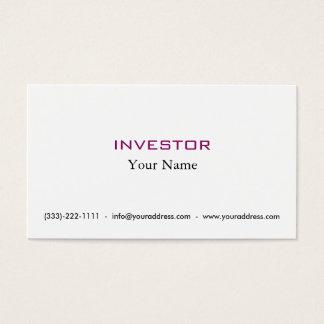 Nueva tarjeta del inversor del dinero de la idea