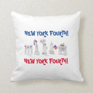¡Nueva York cuarta! NYC almohada patriótica del 4