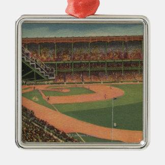 Nueva York, NY - Yankee Stadium Adorno Navideño Cuadrado De Metal
