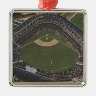Nueva York, NY - Yankee Stadium del aire #2 Adorno Navideño Cuadrado De Metal
