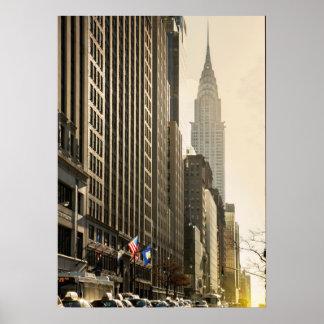 Nueva York, St de E 42 y construcción de Chrysler Póster