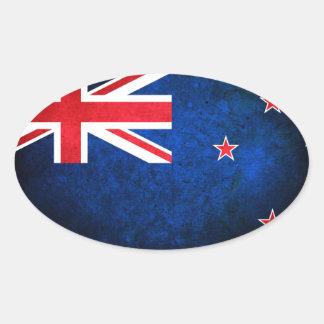 Nueva Zelanda; Bandera del kiwi Pegatina Ovalada