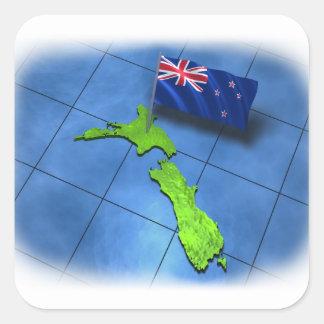 Nueva Zelanda con su propia bandera Calcomanía Cuadradas Personalizadas