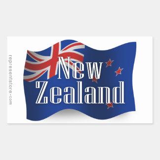 Nueva Zelanda que agita la bandera Rectangular Pegatinas