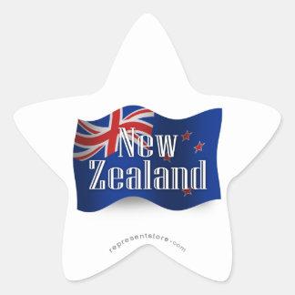 Nueva Zelanda que agita la bandera Calcomania Cuadrada Personalizada