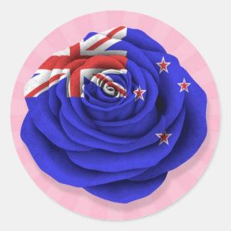 Nueva Zelanda subió la bandera en rosa Pegatinas Redondas
