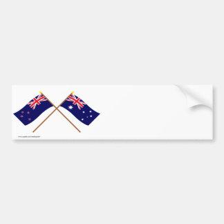 Nueva Zelanda y banderas cruzadas Australia Pegatina Para Coche