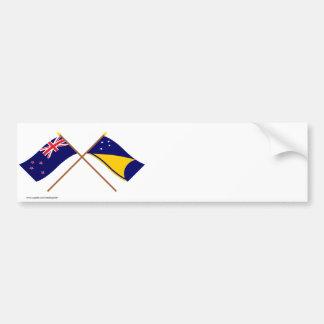 Nueva Zelanda y banderas cruzadas Tokelau Pegatina Para Coche