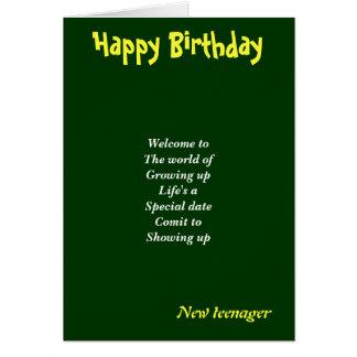 Nuevas tarjetas de cumpleaños del adolescente