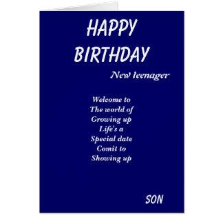 Nuevas tarjetas de cumpleaños del adolescente-hijo