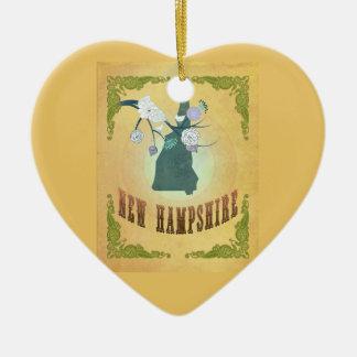 Nuevo amarillo de la fruta de la pasión del mapa adorno de cerámica en forma de corazón