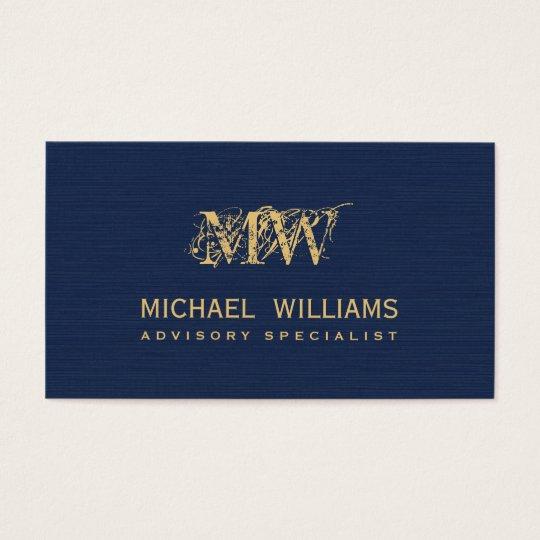 Nuevo azul marino de oro tarjeta de visita