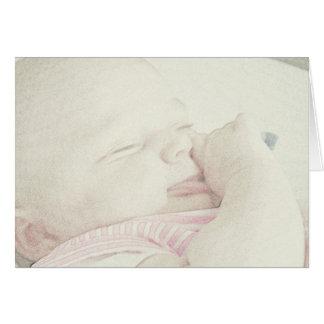 Nuevo bebé aquí o en la manera tarjeta de felicitación