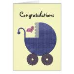 Nuevo bebé de la enhorabuena con arte azul del tarjetón