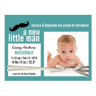 Nuevo bebé de la pequeña foto linda del hombre tarjeta postal