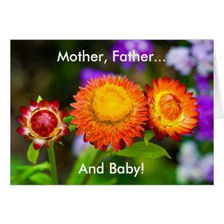 Nuevo bebé: Madre, padre, bebé Tarjeta De Felicitación