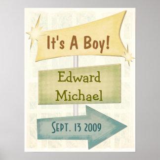 Nuevo bebé personalizado del poster/cualquier ocas póster