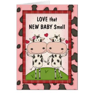 Nuevo bebé - vacas para los nuevos padres tarjeta de felicitación