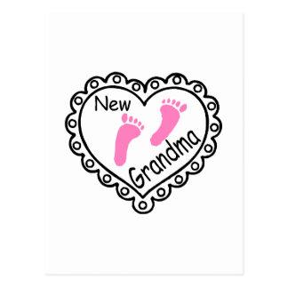 Nuevo corazón del rosa de la abuela postal