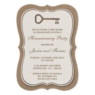 Nuevo estreno de una casa casero de la arpillera invitación 12,7 x 17,8 cm