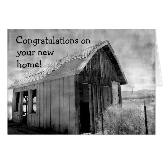 Nuevo hogar de la cabaña vieja tarjeta de felicitación