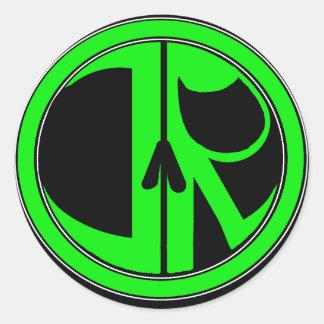 Nuevo logotipo del segador de la justicia pegatina redonda