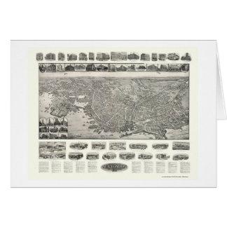 Nuevo Londres, mapa panorámico del CT - 1911 Tarjetón