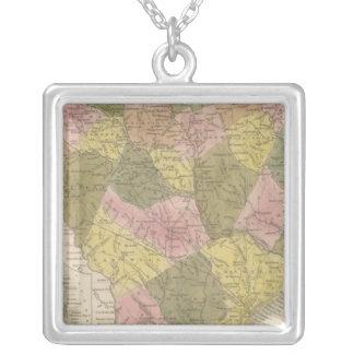 Nuevo mapa de Carolina del Sur 2 Collar Plateado