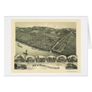 Nuevo Martinsville, mapa panorámico de WV - 1899 Tarjeta De Felicitación