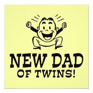 Nuevo papá de gemelos invitación 13,3 cm x 13,3cm