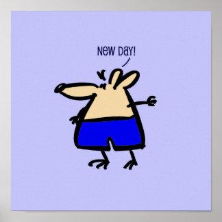 Nuevo ratón del dibujo animado del día en azul en póster