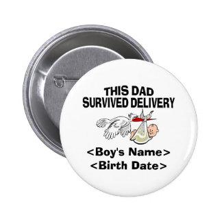 Nuevo regalo personalizado del bebé del papá pins