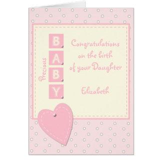 Nuevo rosa y crema de la niña tarjeta de felicitación